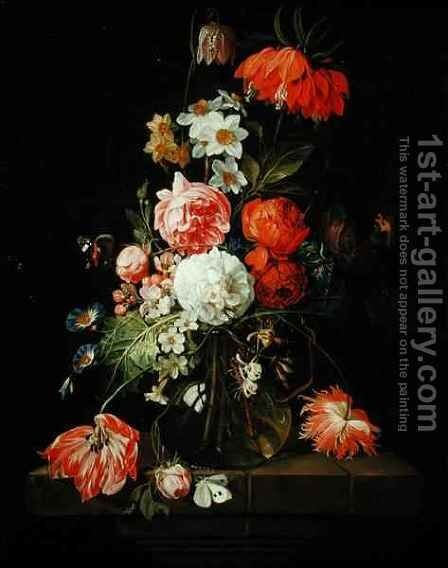 Still Life with Flowers by David Cornelisz. de Heem - Reproduction Oil Painting