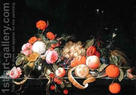 Flowers and Still Life by Cornelis De Heem - Reproduction Oil Painting