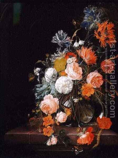 Still Life with Roses Poppies and Ears of Corn by Cornelis De Heem - Reproduction Oil Painting