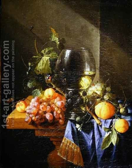 Still life with wine and grapes by Cornelis De Heem - Reproduction Oil Painting