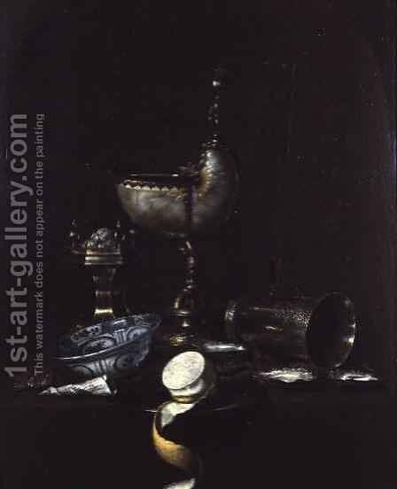 Still Life with Nautilus Shell Cup by Gerrit Willemsz. Heda - Reproduction Oil Painting