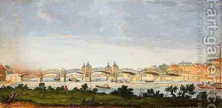 Perspective View of Hampton Court Bridge Crossing the River Thames by (after) Heckel, Augustin - Reproduction Oil Painting