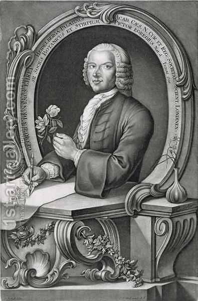 Portrait of Georg Dionysius Ehret 1710-70 by (after) Heckel, Anton - Reproduction Oil Painting