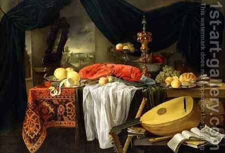 Still Life with a Lobster Lemons and a Lute by Jan van den Hecke - Reproduction Oil Painting