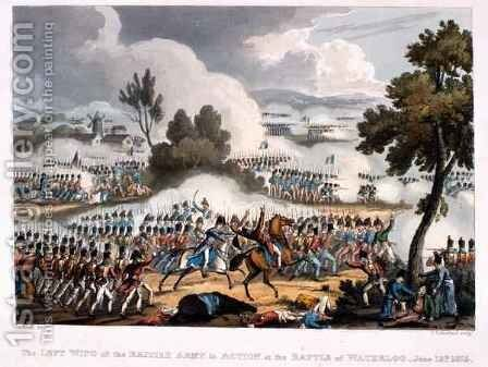 The Left Wing of the British Army in action at the Battle of Waterloo by (after) Heath, William - Reproduction Oil Painting