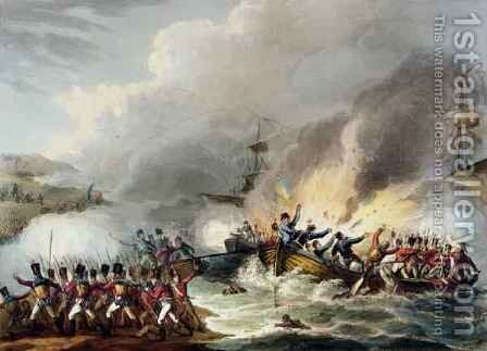 Landing of the British Troops in Egypt March 1801 from The Martial Achievements of Great Britain and her Allies from 1799 to 1815 by (after) Heath, William - Reproduction Oil Painting
