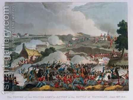The centre of the British army in action at the Battle of Waterloo 2 by (after) Heath, William - Reproduction Oil Painting