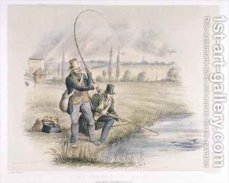 Jack Fishing Lea Bridge from a set of six images of Angling by Henry Heath - Reproduction Oil Painting