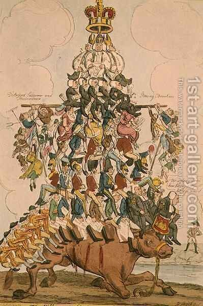 The Pillar of the State or John Bull Overloaded by Henry Heath - Reproduction Oil Painting