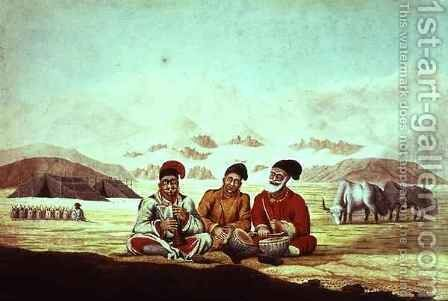 Three Musicians in Tibet by Hyder Jung Hearsey - Reproduction Oil Painting