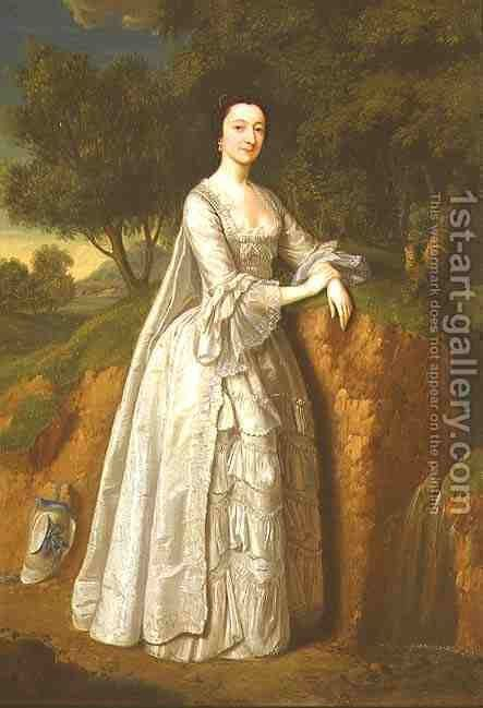 Elizabeth Montague standing in a Wooded Landscape by Edward Haytley - Reproduction Oil Painting