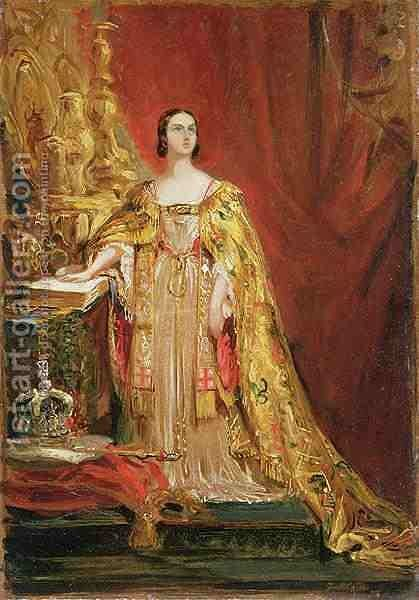 Queen Victoria 1819-1901 Taking the Coronation Oath by Sir George Hayter - Reproduction Oil Painting