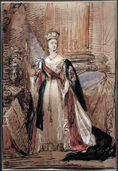 Study for a Portrait of Queen Victoria 1819-1901 by Sir George Hayter - Reproduction Oil Painting