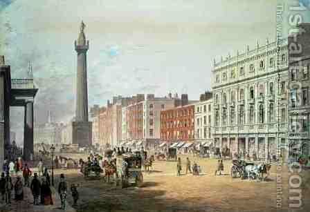 Sackville Street Dublin by Michael Angelo Hayes - Reproduction Oil Painting