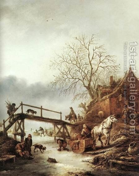 A Winter Scene by Adriaen Jansz. Van Ostade - Reproduction Oil Painting