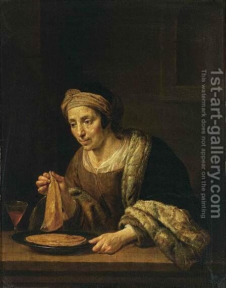 A Woman Holding Pancakes by Jan Van Bijlert - Reproduction Oil Painting
