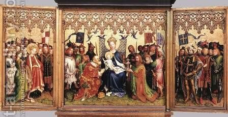 Altarpiece of the Patron Saints of Cologne by Stefan Lochner - Reproduction Oil Painting