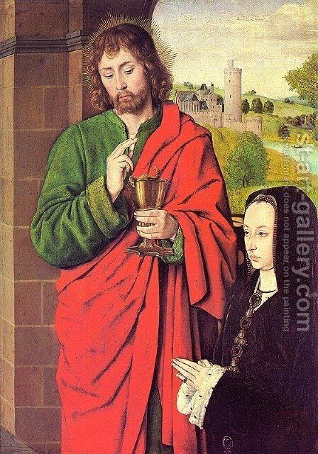 Anne of France presented by Saint John the Evangelist by - Unknown Painter - Reproduction Oil Painting