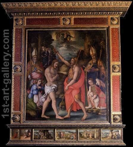 Baptism of Christ with Saints by (circle of) Ubertini, (Bacchiacca) - Reproduction Oil Painting