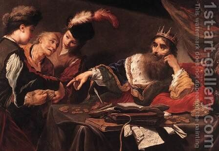 Croesus Receiving Tribute from a Lydian Peasant by Claude Vignon - Reproduction Oil Painting