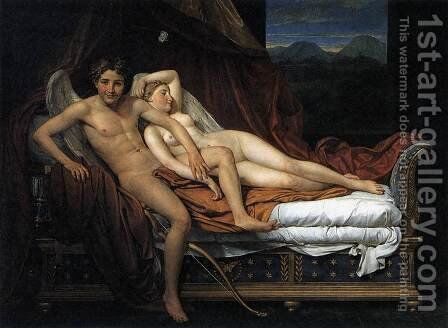 Cupid and Psyche 2 by Jacques Louis David - Reproduction Oil Painting