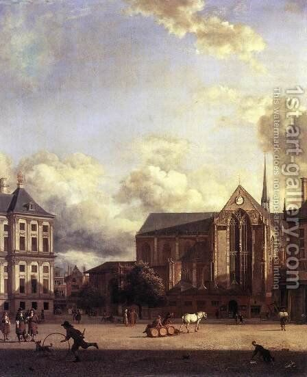 Dam Square, Amsterdam by Jan Van Der Heyden - Reproduction Oil Painting