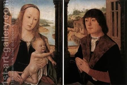 Diptych with a Man at Prayer before the Virgin and Child by - Unknown Painter - Reproduction Oil Painting