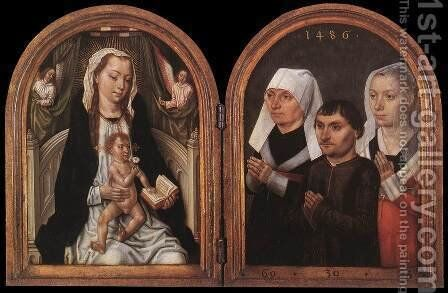 Diptych with the Virgin and Child and Three Donors by Master of the Legend of St. Ursula - Reproduction Oil Painting