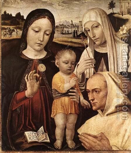 Madonna and Child, St Catherine and the Blessed Stefano Maconi by Bernadino Bergognone - Reproduction Oil Painting