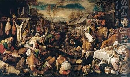 Market Scene by Jacopo Bassano (Jacopo da Ponte) - Reproduction Oil Painting