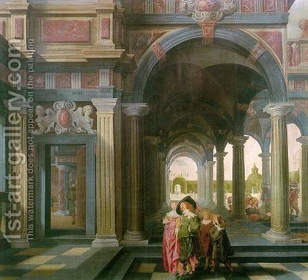 Palace Courtyard with Figures by Dirck Van Delen - Reproduction Oil Painting
