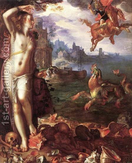 Perseus and Andromeda by Joachim Wtewael - Reproduction Oil Painting