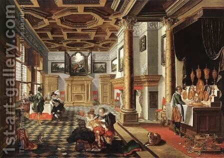 Renaissance Interior with Banqueters by Bartholomeus Van Bassen - Reproduction Oil Painting