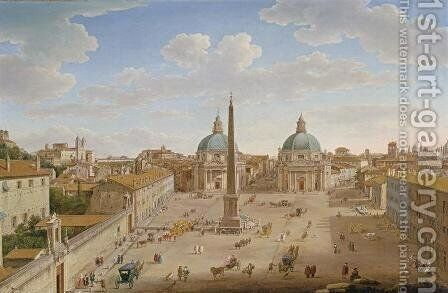 Roma Piazza del Popolo by Hendrik Frans Van Lint - Reproduction Oil Painting