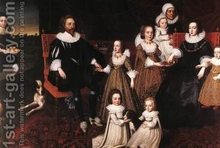 Sir Thomas Lucy and his Family by Cornelis I Johnson - Reproduction Oil Painting