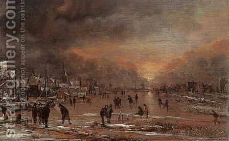 Sports on a Frozen River 2 by Aert van der Neer - Reproduction Oil Painting