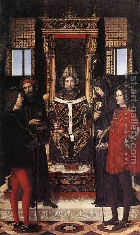 St Ambrose with Saints by Bernadino Bergognone - Reproduction Oil Painting