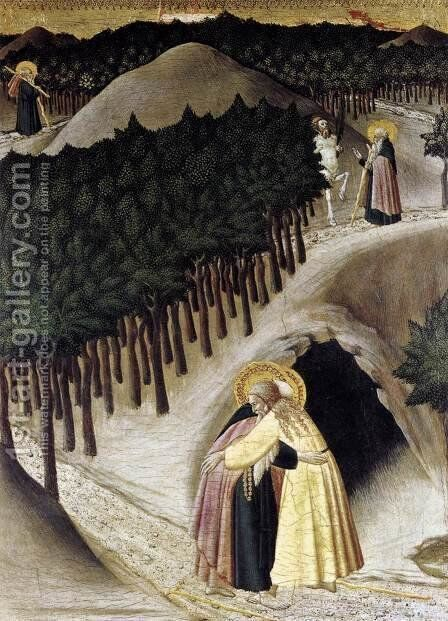 St Anthony Goes in Search of St Paul the Hermit by Master of the Osservanza - Reproduction Oil Painting
