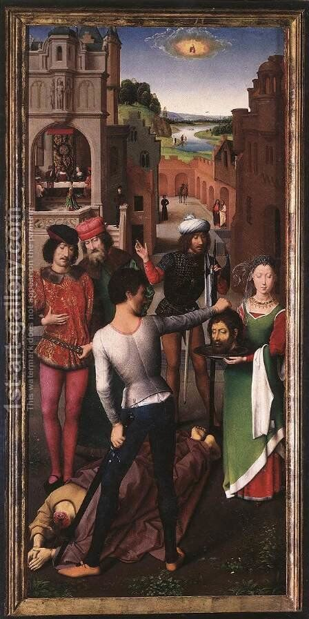 St John Altarpiece (left wing) by Hans Memling - Reproduction Oil Painting
