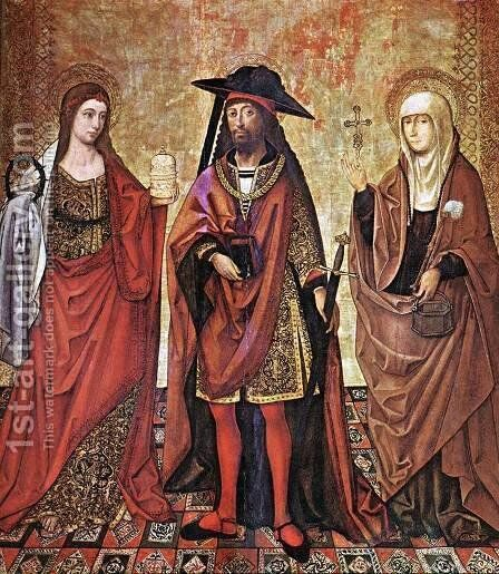 St Lazarus between Martha and Mary by - Unknown Painter - Reproduction Oil Painting