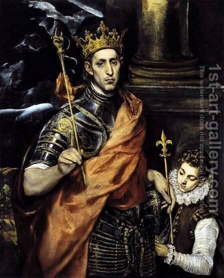 St Louis, King of France, with a Page by El Greco - Reproduction Oil Painting