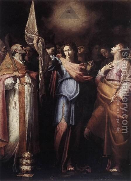 St Ursula and Her Companions with Pope Ciriacus and St Catherine of Alexandria by Bartolomeo Cavarozzi - Reproduction Oil Painting