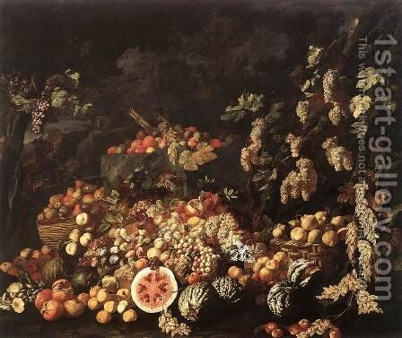 Still-Life with Fruit and Flowers by Giuseppe Recco - Reproduction Oil Painting