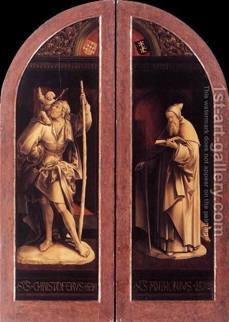 Sts Christopher and Anthony by Jacob Cornelisz Van Oostsanen - Reproduction Oil Painting