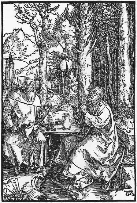 The Hermits St Anthony and St Paul by Albrecht Durer - Reproduction Oil Painting