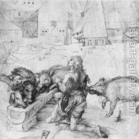 The Prodigal Son among the Swine by Albrecht Durer - Reproduction Oil Painting