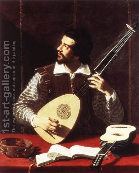 The Theorbo Player by Antiveduto Gramatica - Reproduction Oil Painting