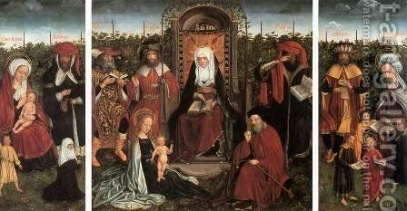 Triptych with the Family of St Anne by - Unknown Painter - Reproduction Oil Painting