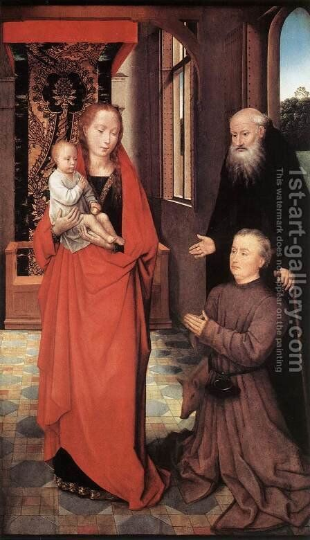 Virgin and Child with St Anthony the Abbot and a Donor by Hans Memling - Reproduction Oil Painting