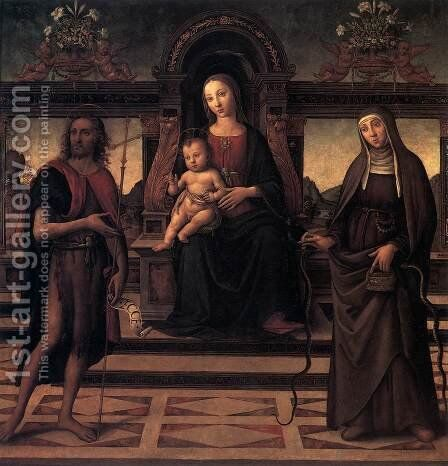 Virgin and Child with Sts John the Baptist and Verdiana by Italian Unknown Master - Reproduction Oil Painting